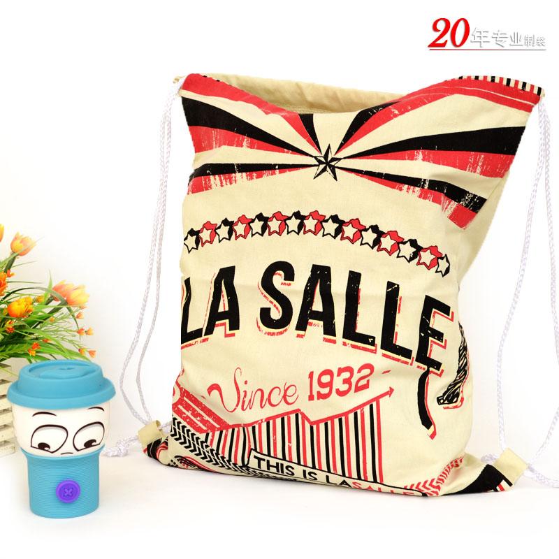 LA SALLE创意束口袋纯棉布袋索绳袋抽绳袋拉绳袋礼品袋米袋
