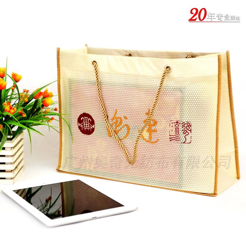 高档茶叶包装袋球纹无纺布袋圆点纹立体包边袋购物袋礼品袋